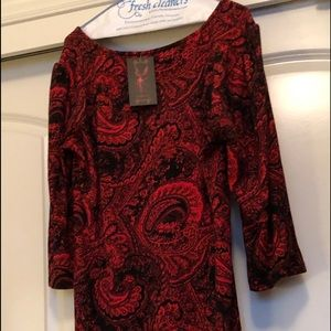 New! Red/black empire style tunic/dress. Paisley!